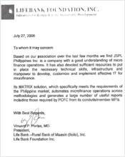 Testimonial from Life Bank Foundation Inc.