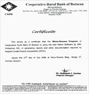 Testimonial from Cooperative Rural Bank of Bulacan